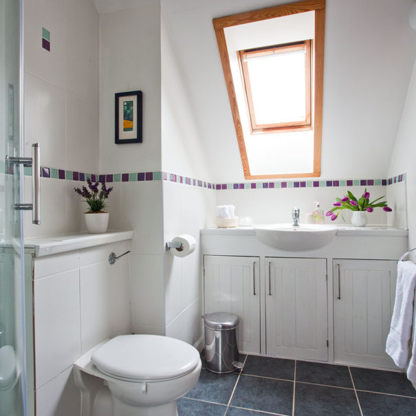 coach house bb wells somerset upstairs bathroom with shower 1